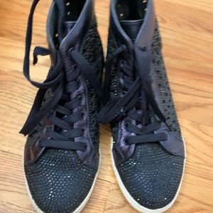 Shoes - Bedazzled navy sneakers with cut out design